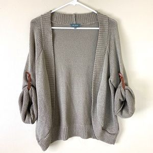 Et Vous Knit Acrylic Cardigan Sweater Oatmeal Tan